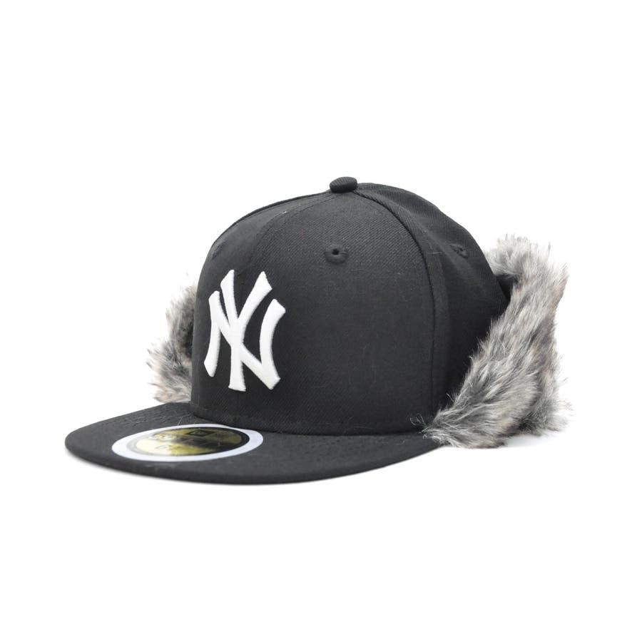 Kid's 59FIFTY フリップダウン イアーフラップ ニューヨーク・ヤンキース / ブラック × スノーホワイト[12108593] 22
