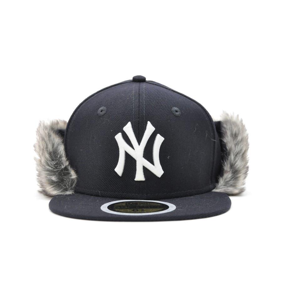 Kid's 59FIFTY フリップダウン イアーフラップ ニューヨーク・ヤンキース / ネイビー × スノーホワイト[12108592] 2