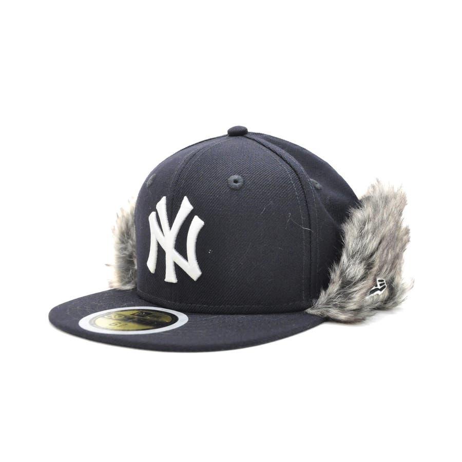 Kid's 59FIFTY フリップダウン イアーフラップ ニューヨーク・ヤンキース / ネイビー × スノーホワイト[12108592] 64