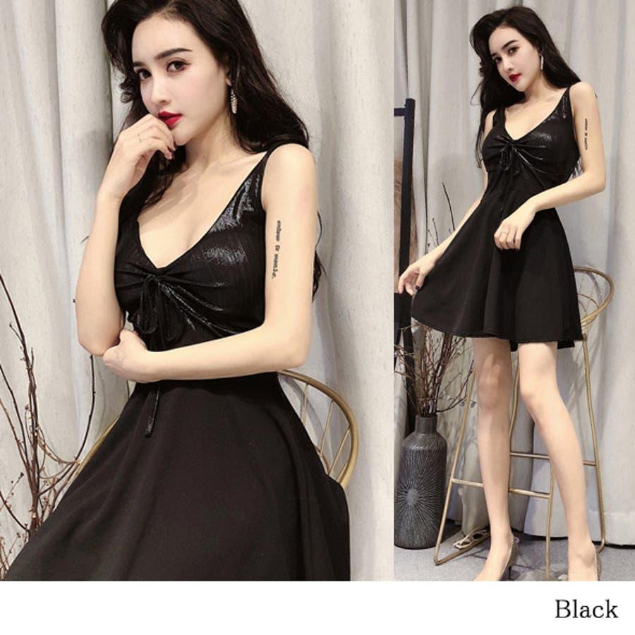 18b5e6e45ae76 キャバドレスパーティードレスフレアミニワンピースキャバドレス深Vネックエナメル光沢素材胸ギャザー · DLXGIRLのワンピース・ドレス ドレス