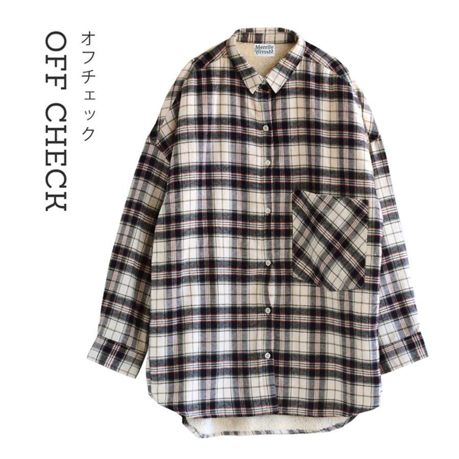 Merrily(メリリー):セレクト フランネルファブリック ビッグシャツ[インナーボア] 20