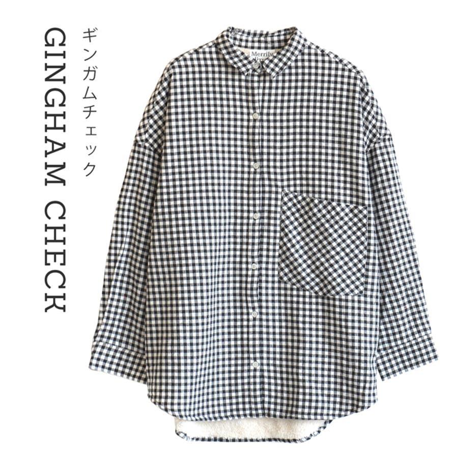 Merrily(メリリー):セレクト フランネルファブリック ビッグシャツ[インナーボア] 108