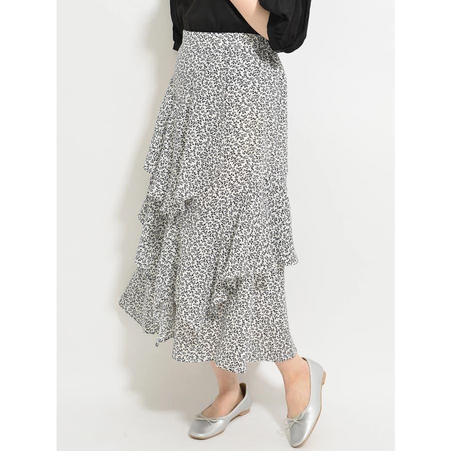 ・K 単色花柄変形ティアードスカート 1
