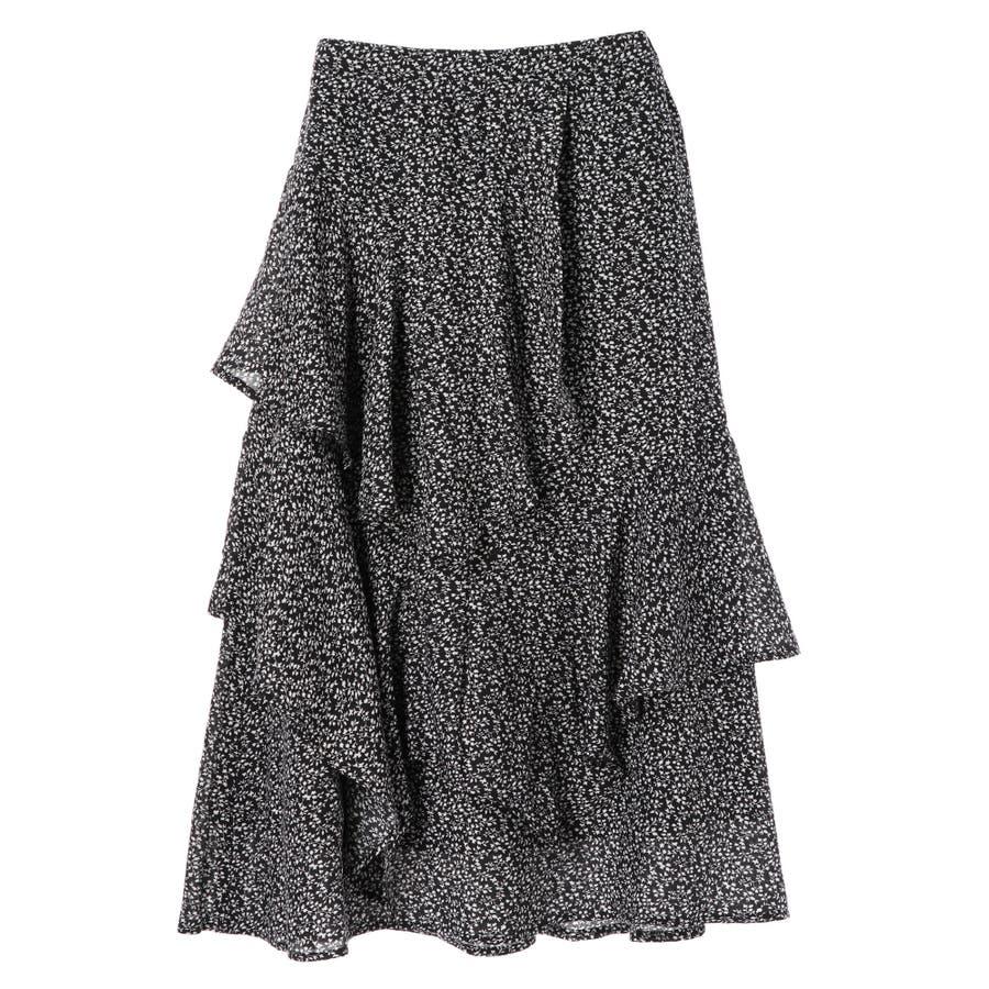 ・K 単色花柄変形ティアードスカート 21