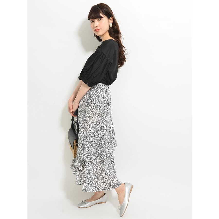 ・K 単色花柄変形ティアードスカート 2