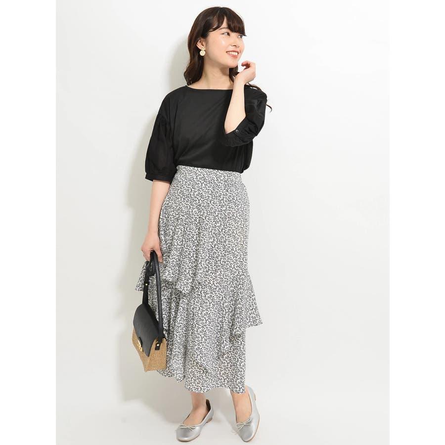 ・K 単色花柄変形ティアードスカート 3