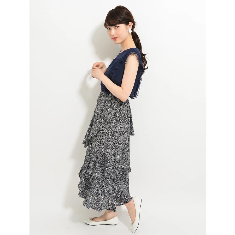 ・K 単色花柄変形ティアードスカート 4