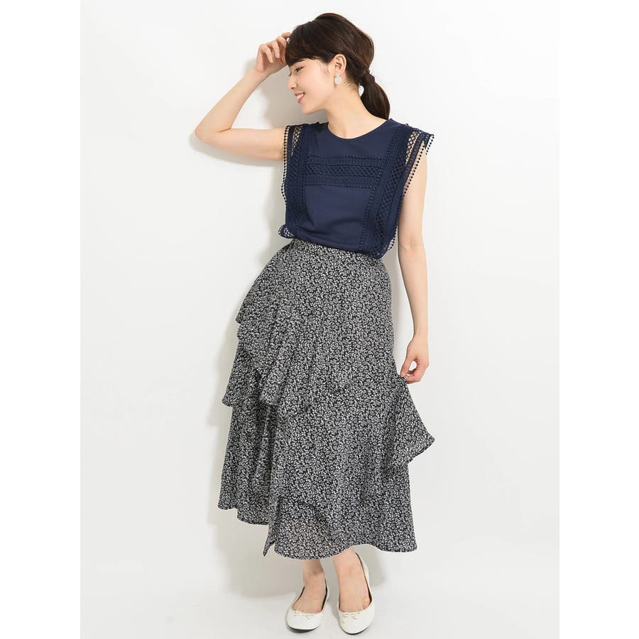 ・K 単色花柄変形ティアードスカート 5