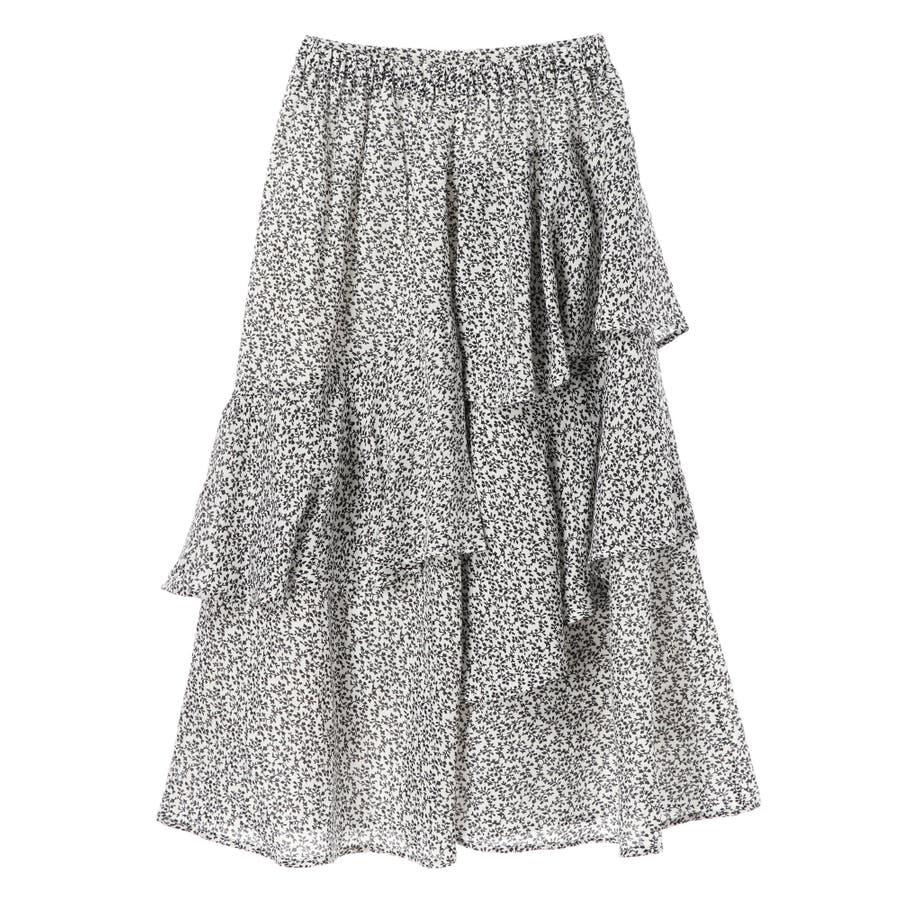 ・K 単色花柄変形ティアードスカート 6