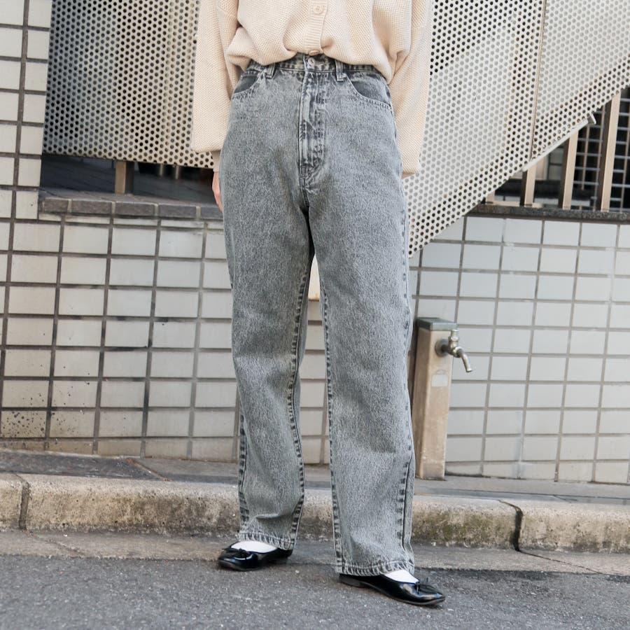 【kutir】ハイウエストストレートデニムパンツ 26
