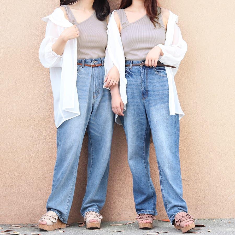 【リンクコーデ専門ブランド/ペアペア】アシメリブタンク付シアーシャツ 2