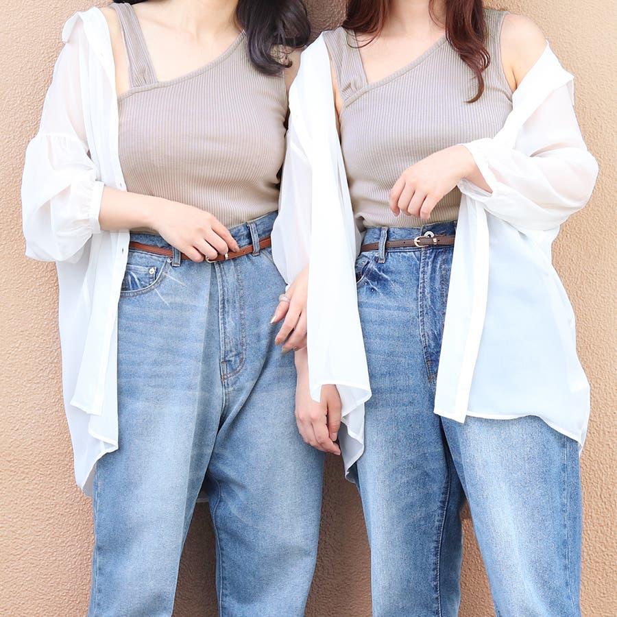 【リンクコーデ専門ブランド/ペアペア】アシメリブタンク付シアーシャツ 17