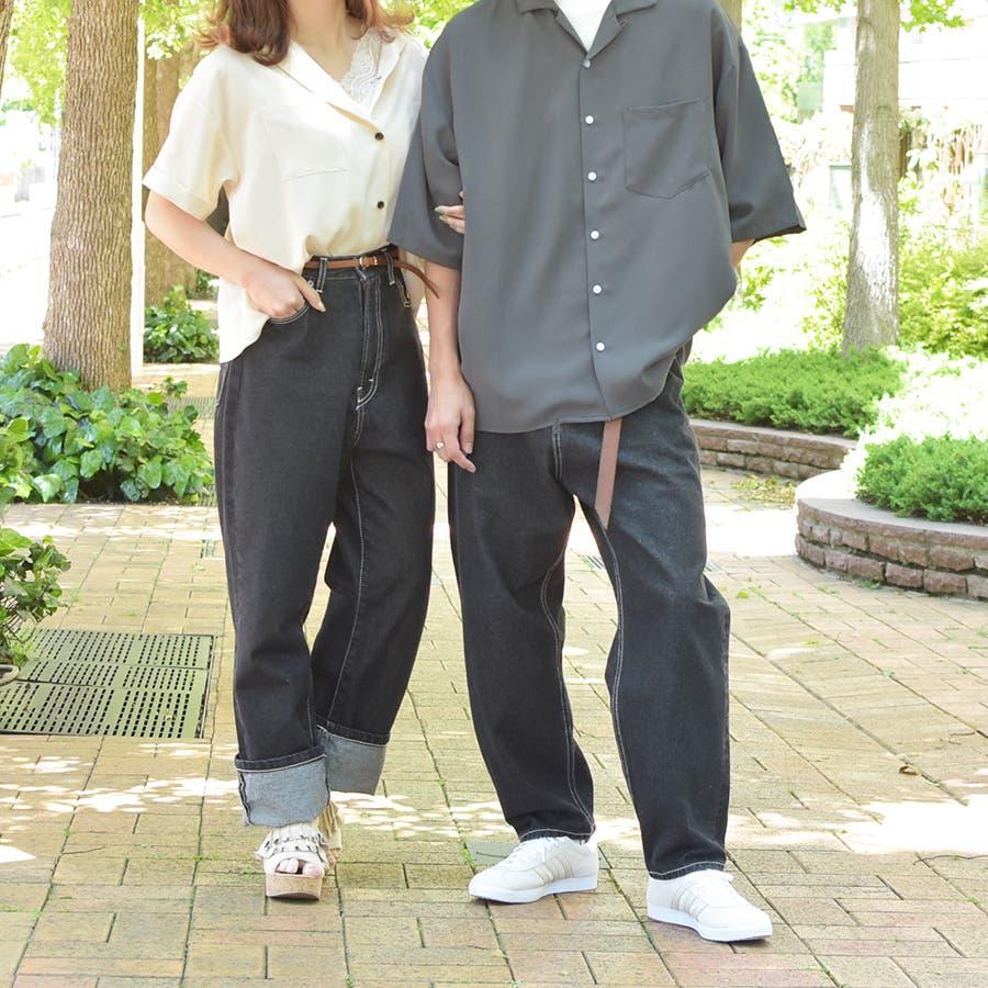 【リンクコーデ専門ブランド/ペアペア】ポケット付き開襟シャツ 2