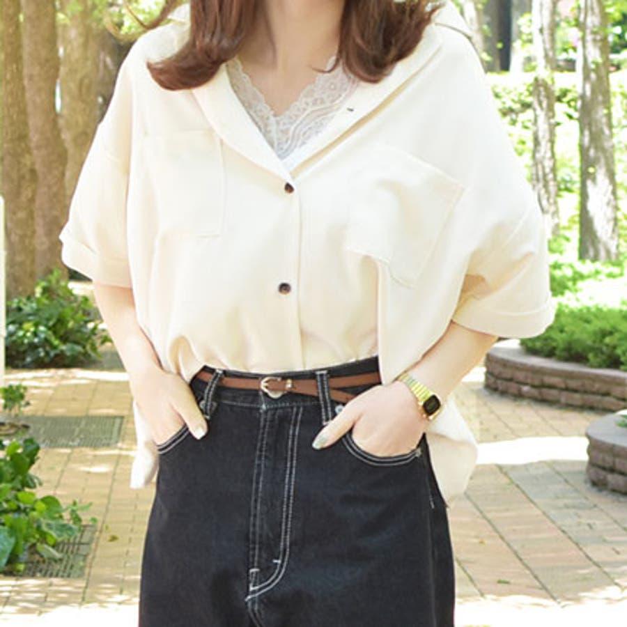 【リンクコーデ専門ブランド/ペアペア】ポケット付き開襟シャツ 4