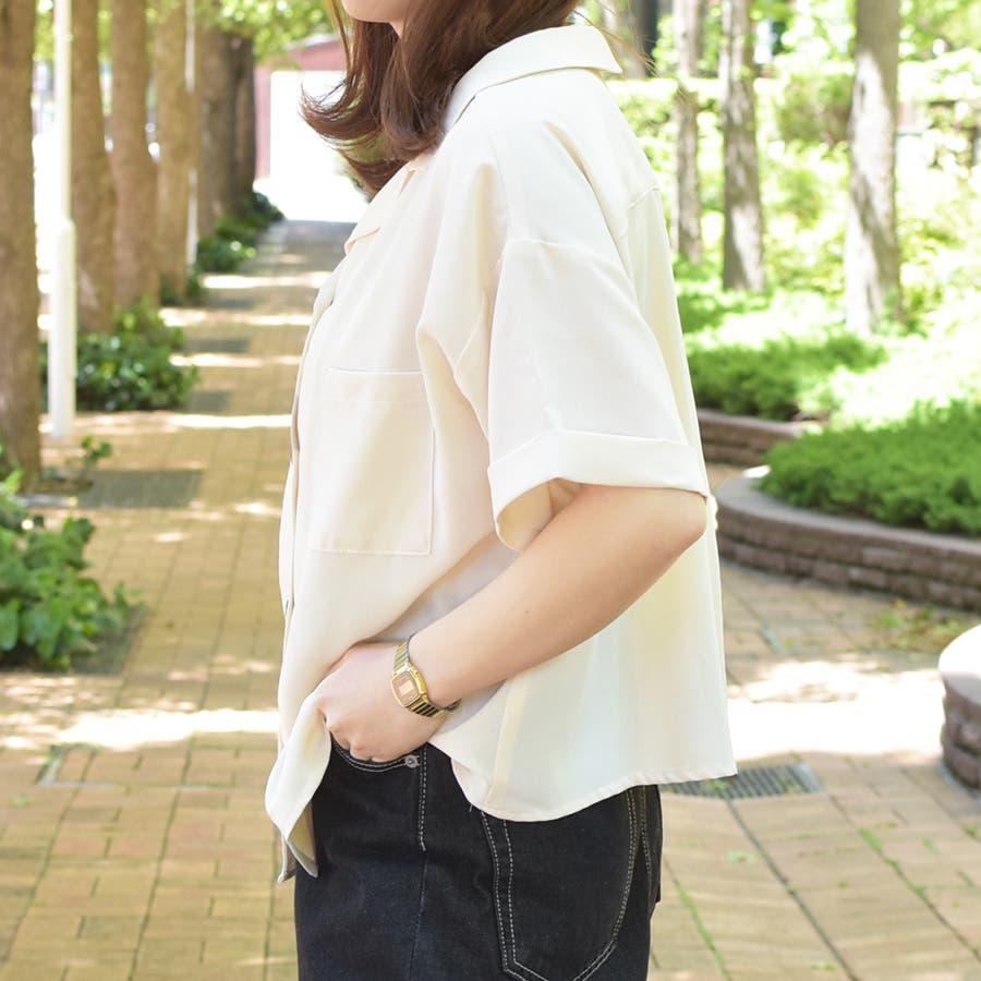 【リンクコーデ専門ブランド/ペアペア】ポケット付き開襟シャツ 5