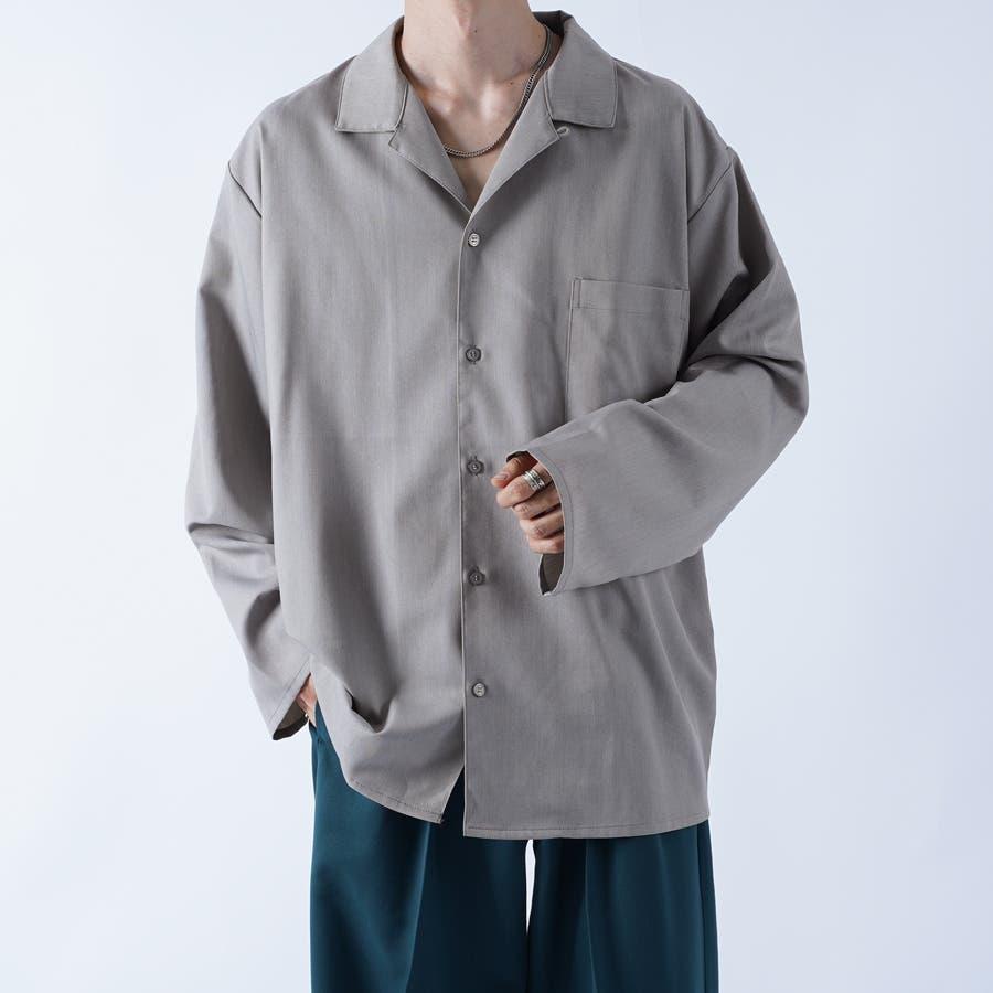 【kutir】袖ボタンレスオープンカラーシャツ 46