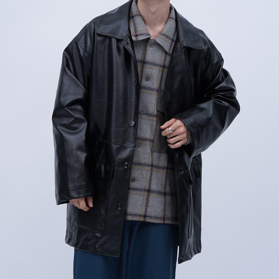 【kutir】フェイクレザーオーバージャケット 1