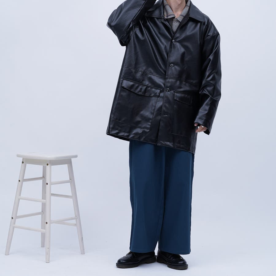 【kutir】フェイクレザーオーバージャケット 2