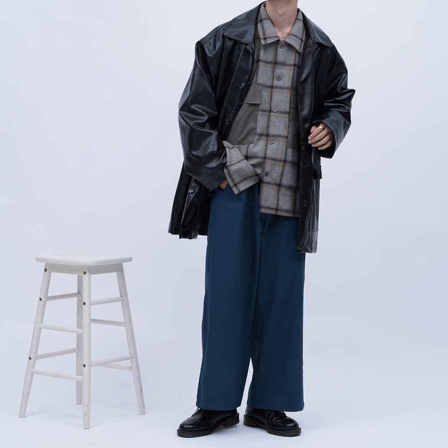 【kutir】フェイクレザーオーバージャケット 5