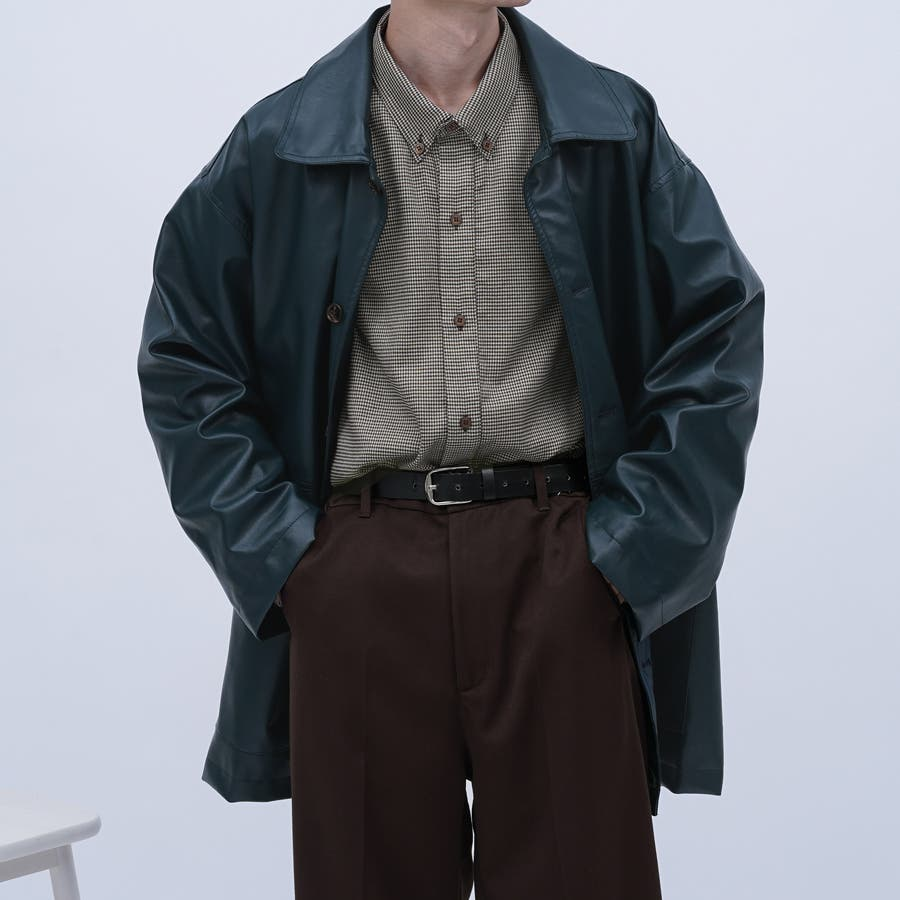 【kutir】フェイクレザーオーバージャケット 47