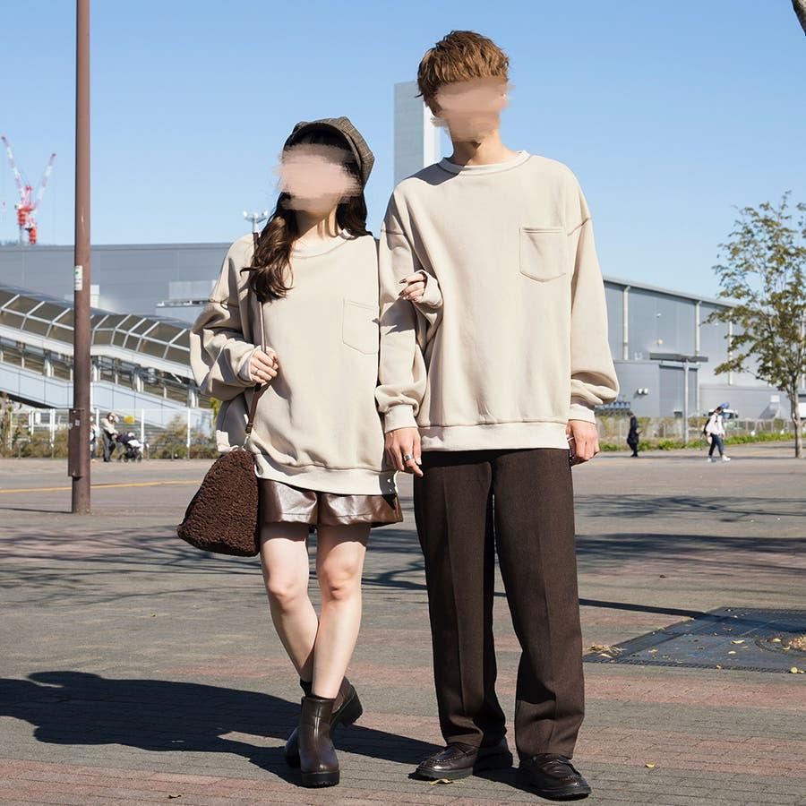 【リンクコーデ専門ブランド/ペアペア】配色ステッチプルオーバー(ユニセックス) 2