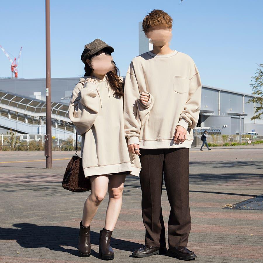 【リンクコーデ専門ブランド/ペアペア】配色ステッチBIGパーカー(ユニセックス) 3