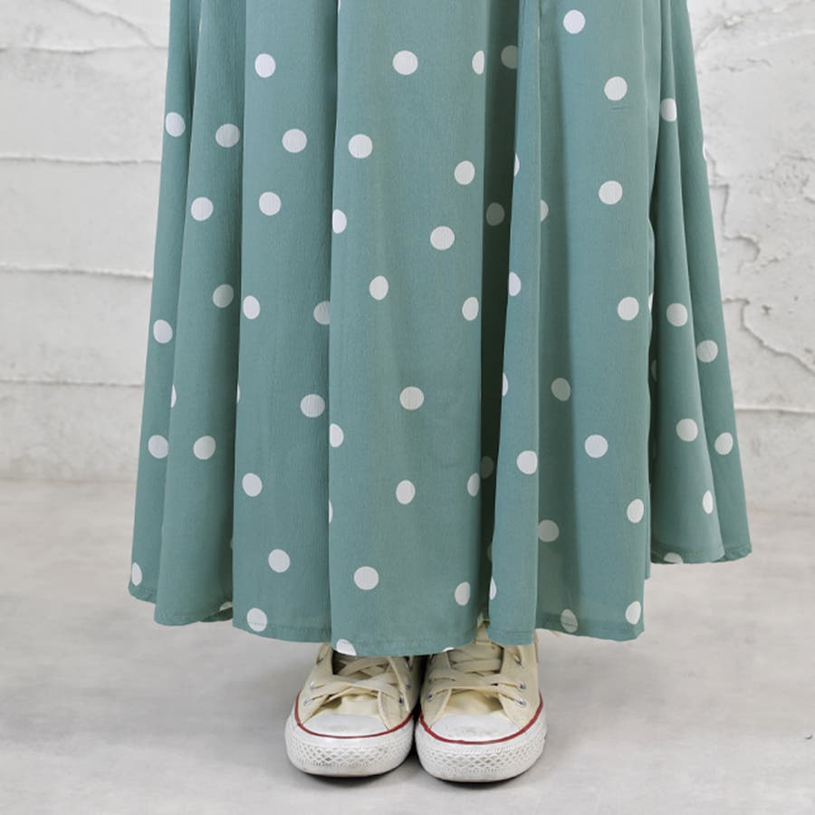 【Girly Doll】ドットフレアマキシスカート【2020春夏新品】 10