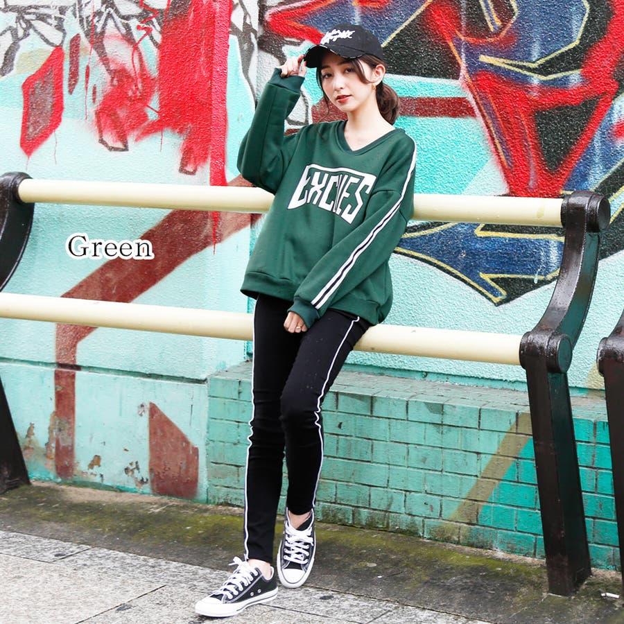 【GirlyDoll】裏起毛ルーズトレーナー(6色)/ロゴ/長袖/ドロップショルダー/プルオーバー/ゆったり/大きめ/ビックシルエット/トップス/レディース/ニット/パンプス/カーディガン/シューズ/大きいサイズ/韓国ファッション/トレンド 47