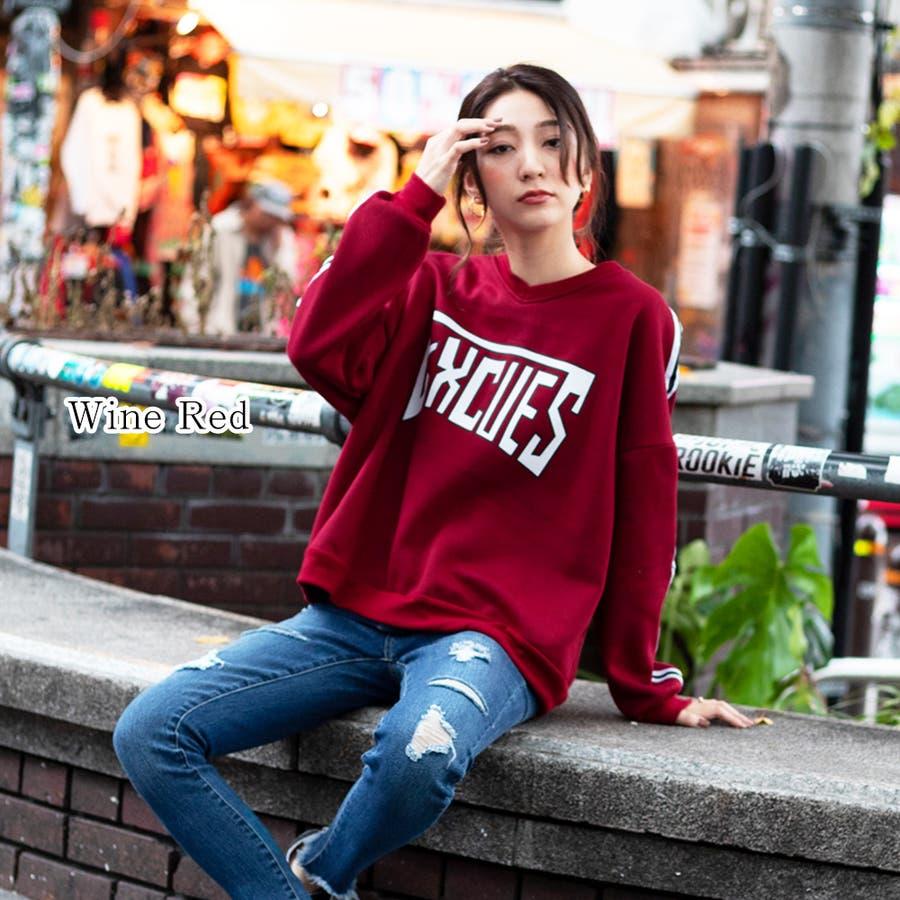 【GirlyDoll】裏起毛ルーズトレーナー(6色)/ロゴ/長袖/ドロップショルダー/プルオーバー/ゆったり/大きめ/ビックシルエット/トップス/レディース/ニット/パンプス/カーディガン/シューズ/大きいサイズ/韓国ファッション/トレンド 96