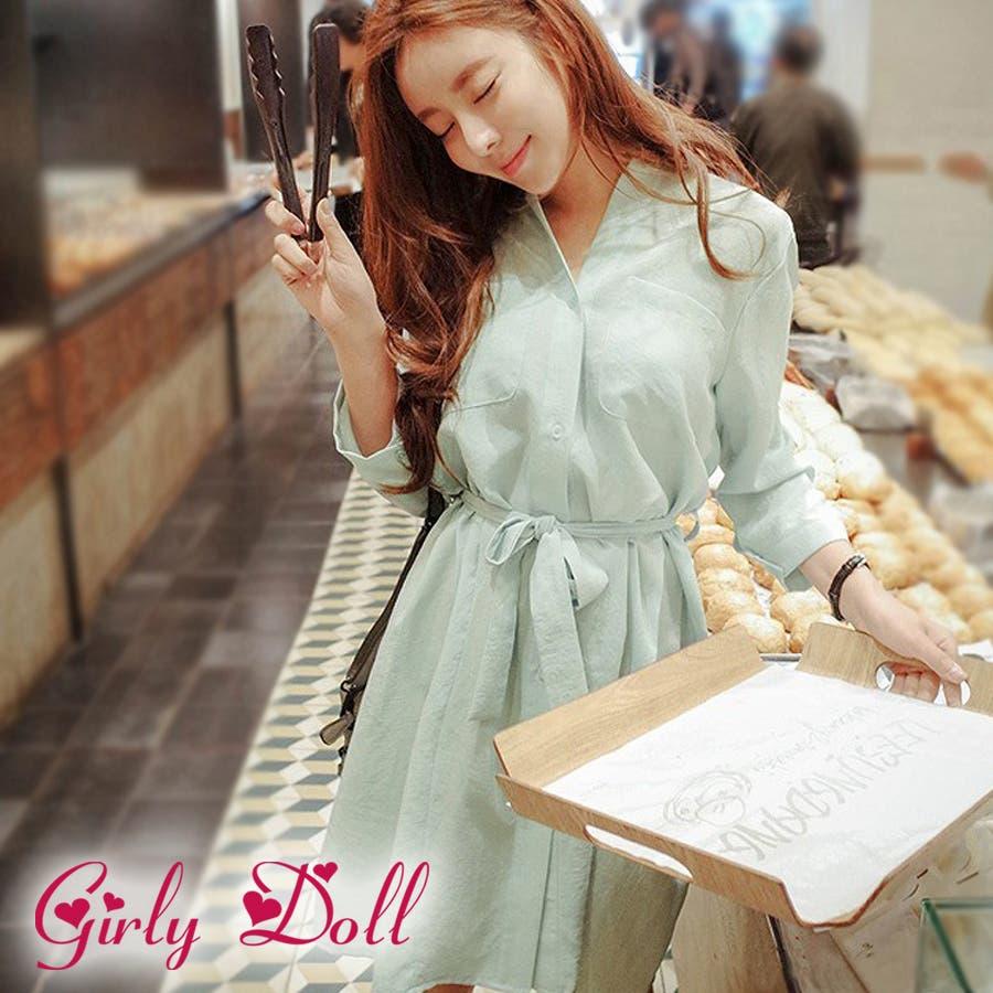 今から使える GirlyDoll シャツワンピース P102152C-6gdld 2016春夏商品 ワンピース シャツ シャツワンピ 長袖 リボン フレアシルエット 上品 大人 春 レディース 明白