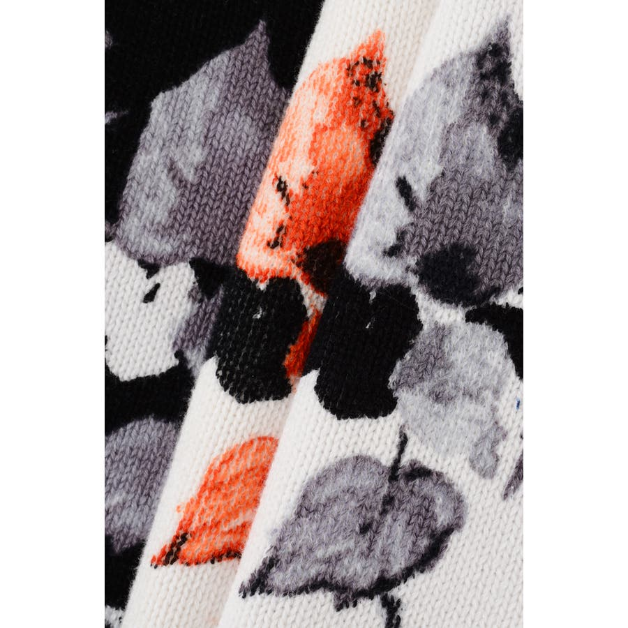 デザインリーフ柄ニットスカート 6