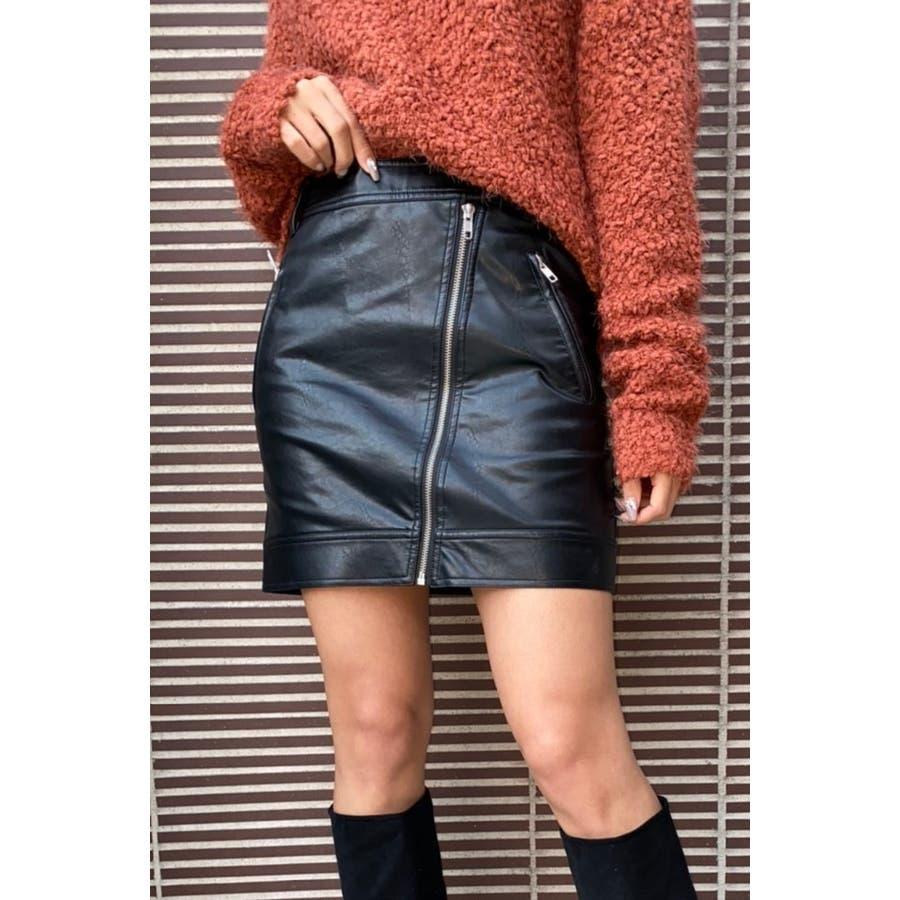 3ZIPデザインフェイクレザースカート 21