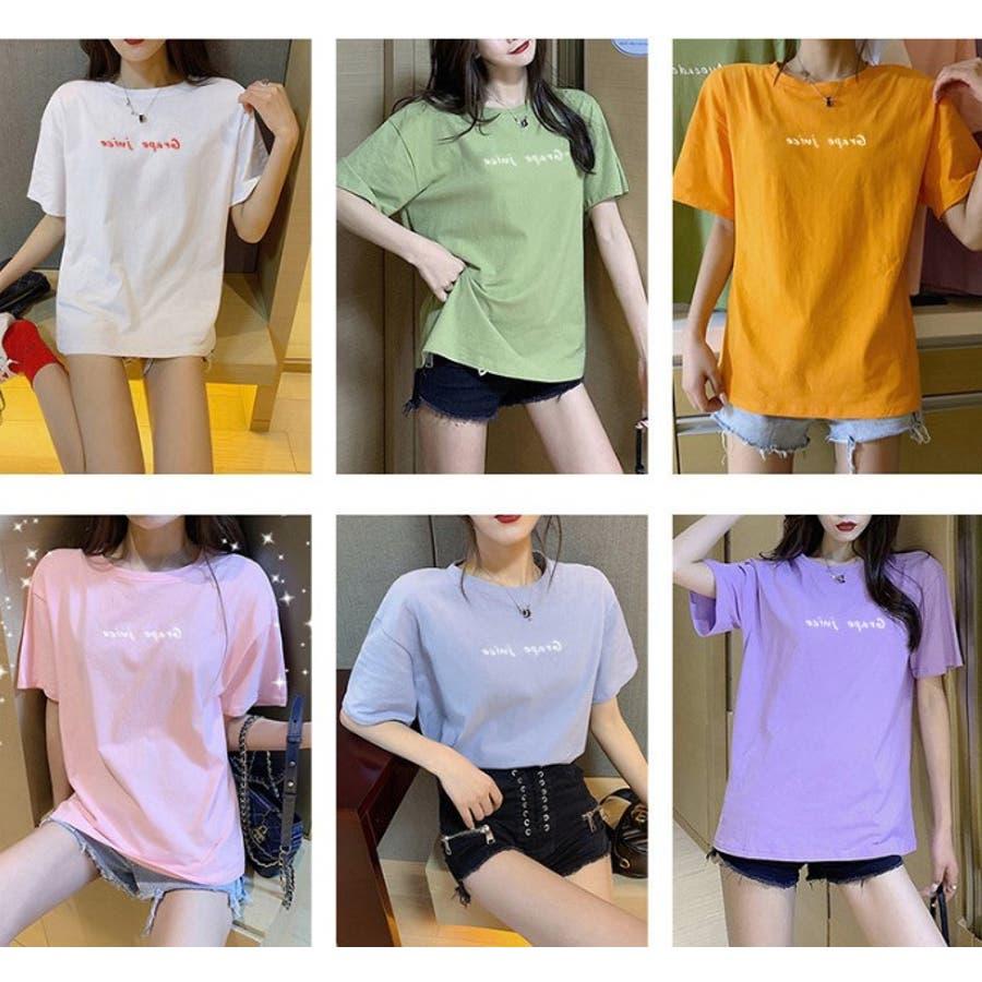 BIGカジュアル 半袖 プリント Tシャツ レディース  夏 全6色 2