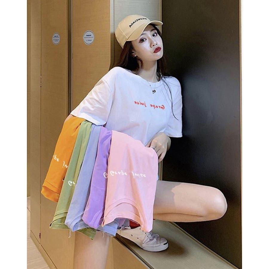 BIGカジュアル 半袖 プリント Tシャツ レディース  夏 全6色 3