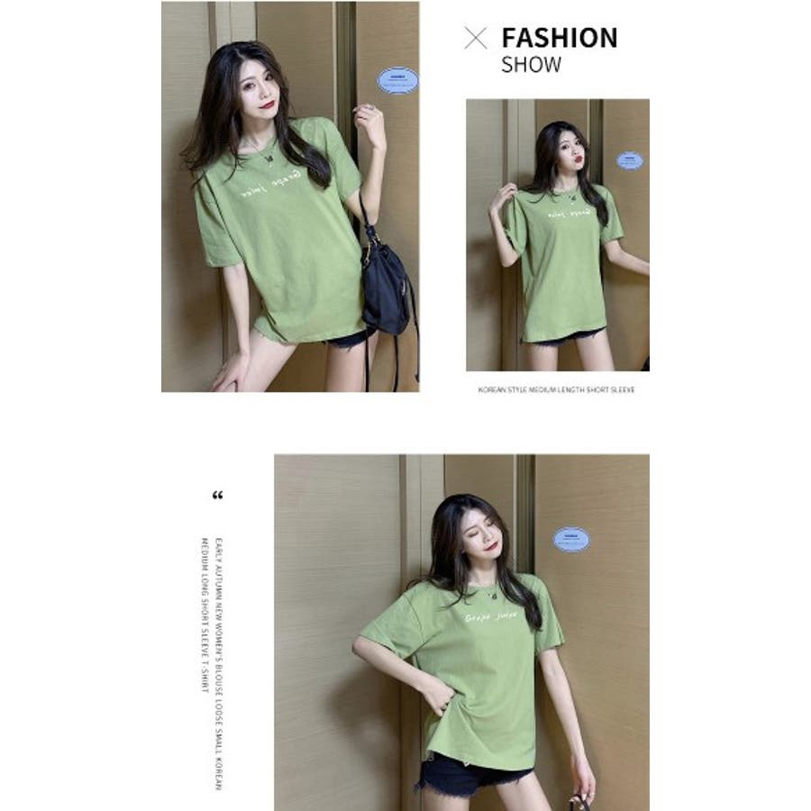 BIGカジュアル 半袖 プリント Tシャツ レディース  夏 全6色 5