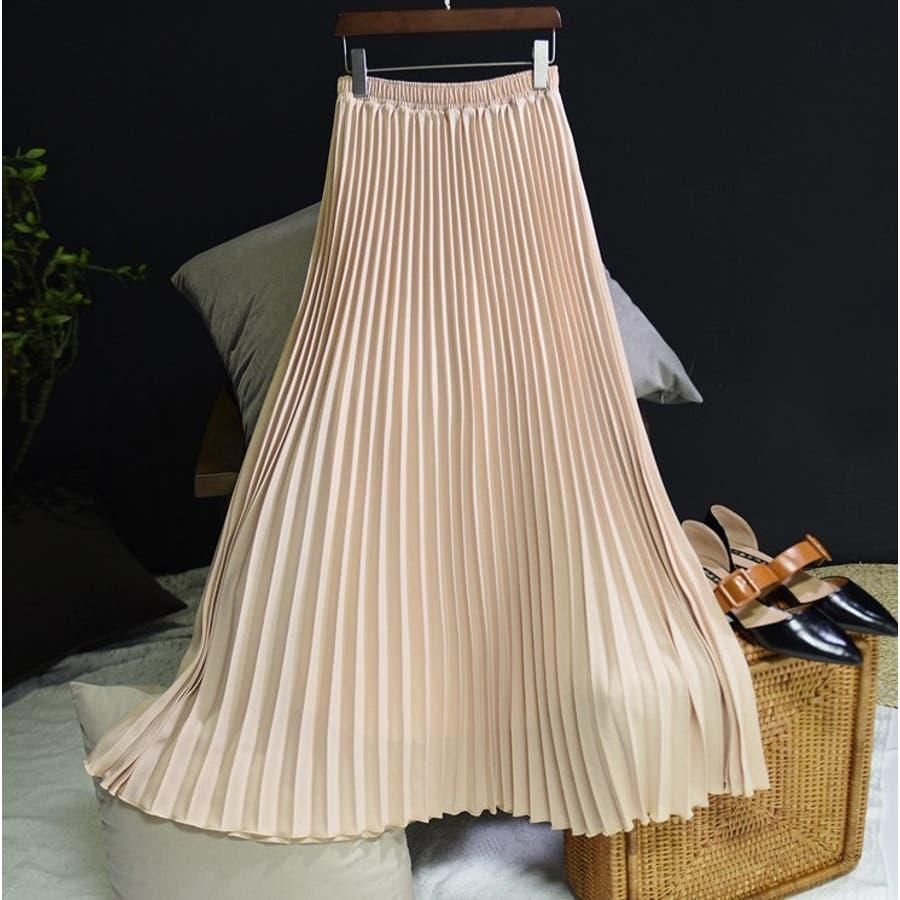 人気のフレアーロングスカート  ソリッドカラー レディース 全8色 3