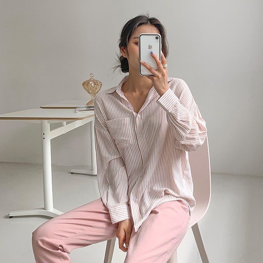 [ENVYLOOK]ワンポケットストライプシャツ★韓国ファッション/カジュアル/デイリールック/フェミニンルック/オルチャンファッション/プチプラ/ストリート 8