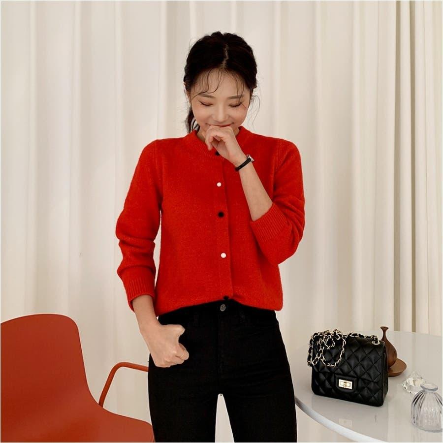 カラーボタンラウンドニットカーディガン★韓国ファッション/カジュアル/デイリールック/フェミニンルック/オルチャンファッション 5