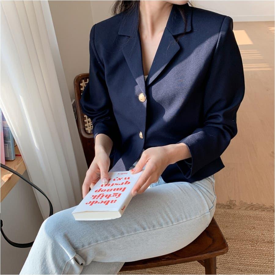 肩パッドゴールドボタンショートテーラードジャケット★韓国ファッション/カジュアル/デイリールック/フェミニンルック/オルチャンファッション 64