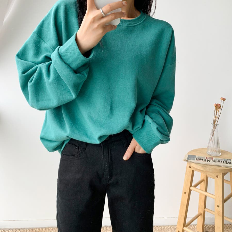 シンプル単色コットンスウェットプルオーバー★韓国ファッション/カジュアル/デイリールック/フェミニンルック/オルチャンファッション 50