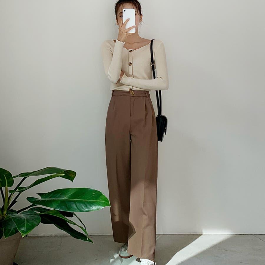 飾りボタンメロウフリル端リブTシャツ★韓国ファッション/カジュアル/デイリールック/フェミニンルック/オルチャンファッション 5