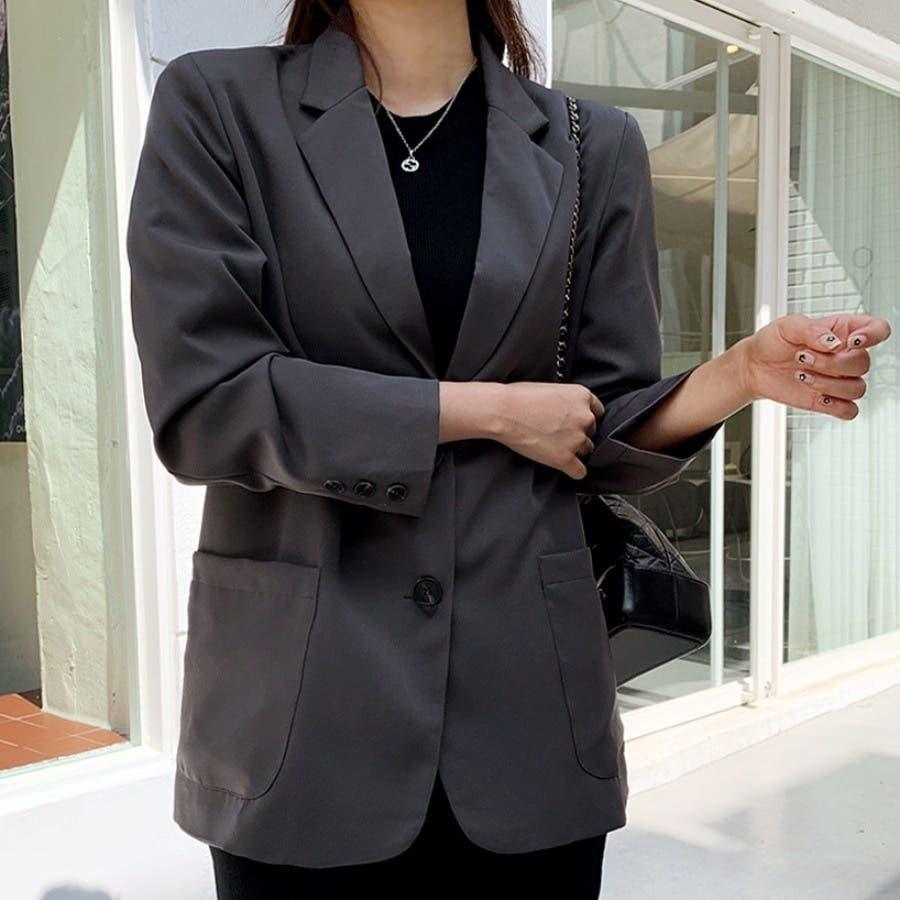 [ENVYLOOK]肩パッド付きツーボタンシングルテーラードジャケット★韓国ファッション/カジュアル/デイリールック/フェミニンルック/オルチャンファッション/プチプラ/ストリート 1