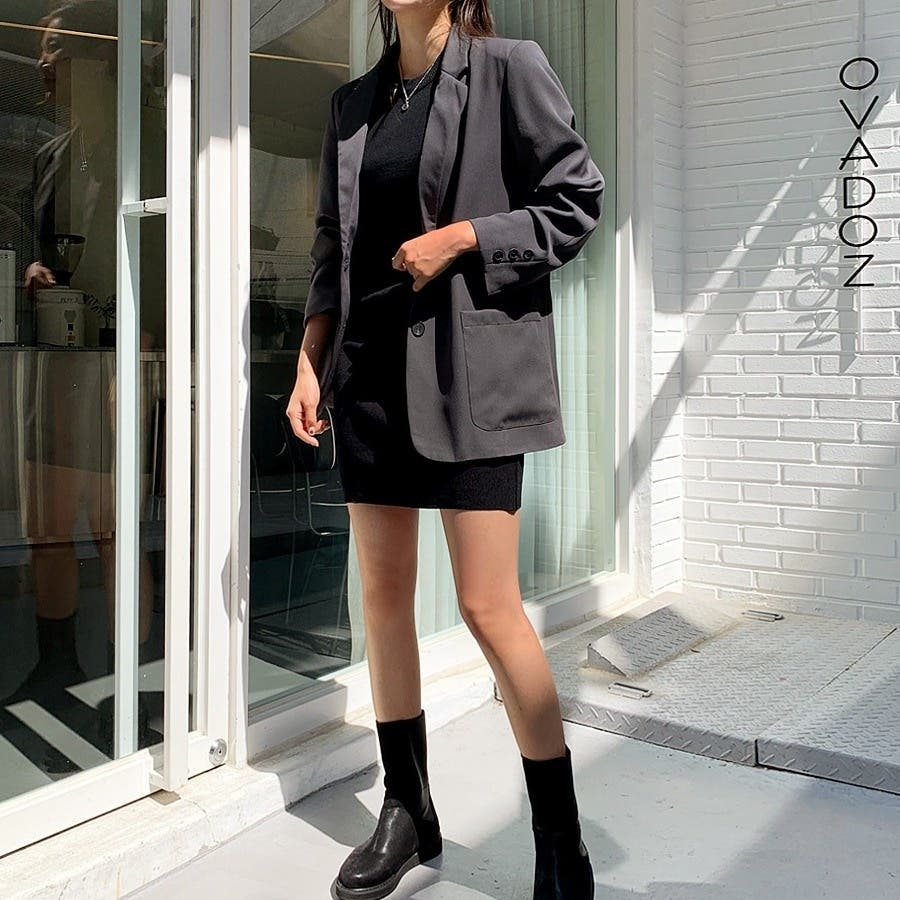 [ENVYLOOK]肩パッド付きツーボタンシングルテーラードジャケット★韓国ファッション/カジュアル/デイリールック/フェミニンルック/オルチャンファッション/プチプラ/ストリート 4