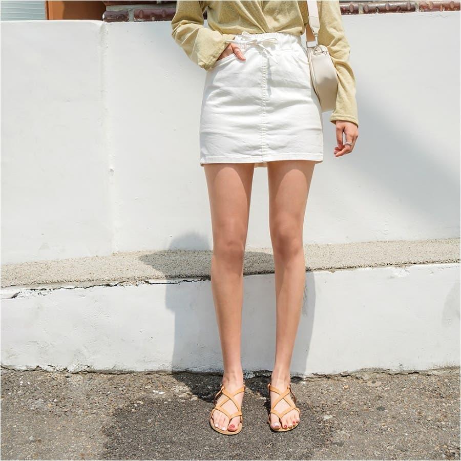 ウエストリボンタイトスカパン 韓国ファッション カジュアル 1