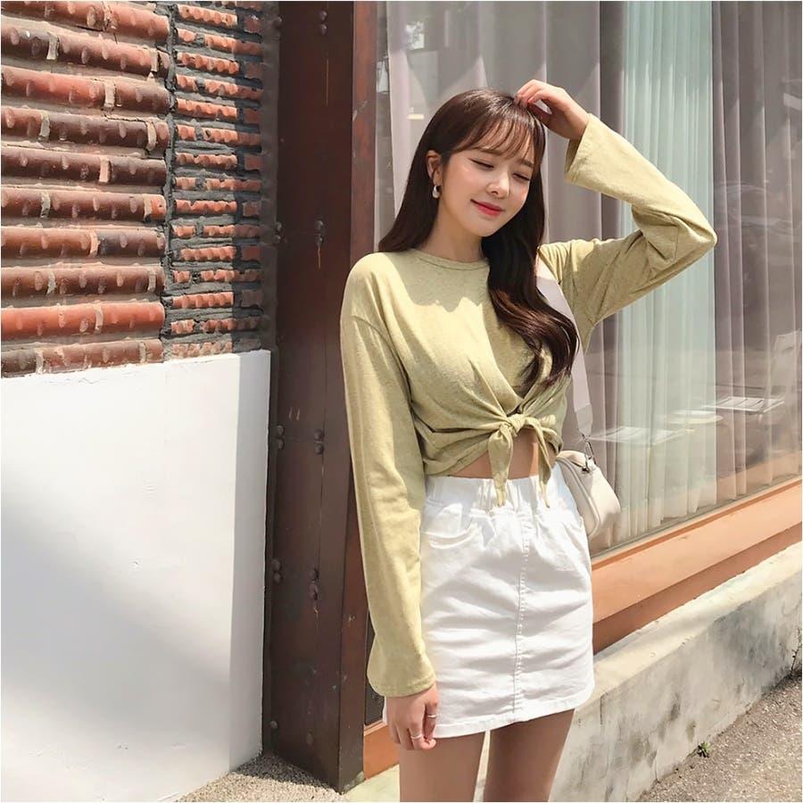 ウエストリボンタイトスカパン 韓国ファッション カジュアル 4