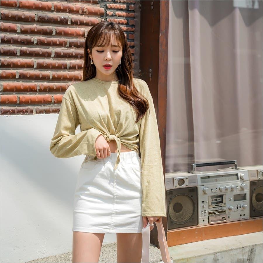 ウエストリボンタイトスカパン 韓国ファッション カジュアル 5