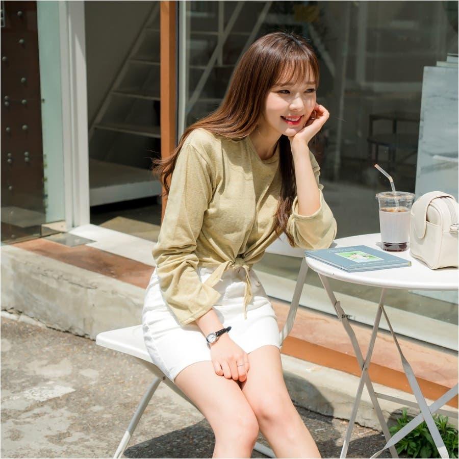 ウエストリボンタイトスカパン 韓国ファッション カジュアル 6