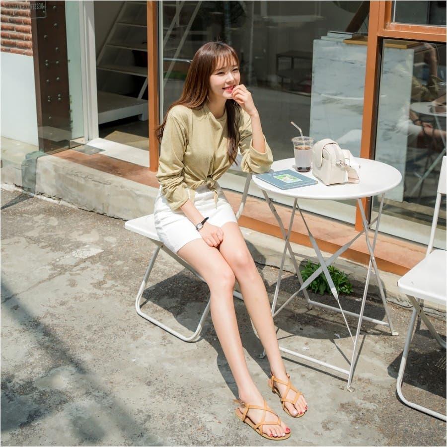 ウエストリボンタイトスカパン 韓国ファッション カジュアル 7