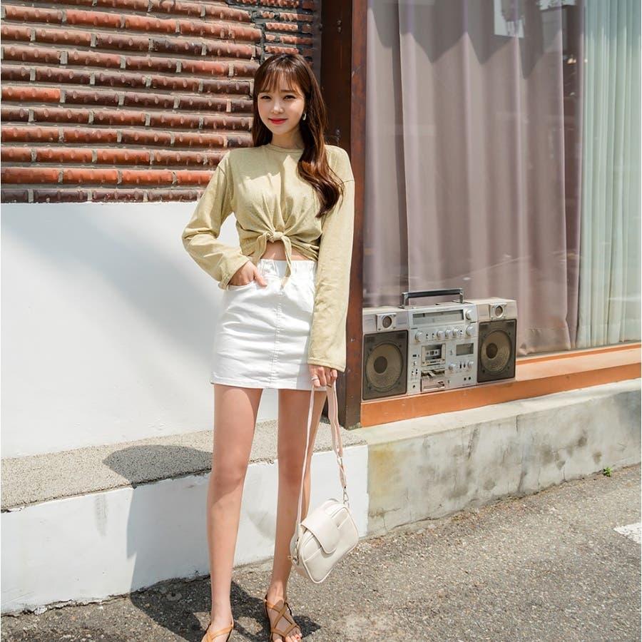 ウエストリボンタイトスカパン 韓国ファッション カジュアル 8