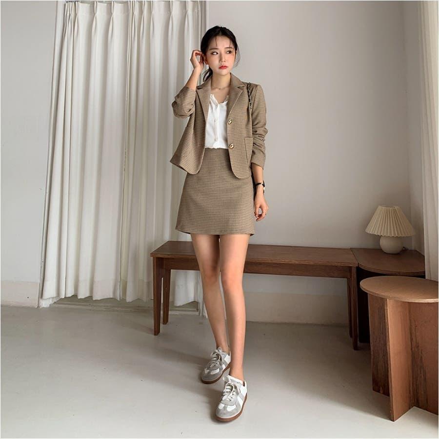 ミニハウンドトゥースジャケット+Aラインミニスカート★韓国ファッション/カジュアル/デイリールック/フェミニンルック/オルチャンファッション 2
